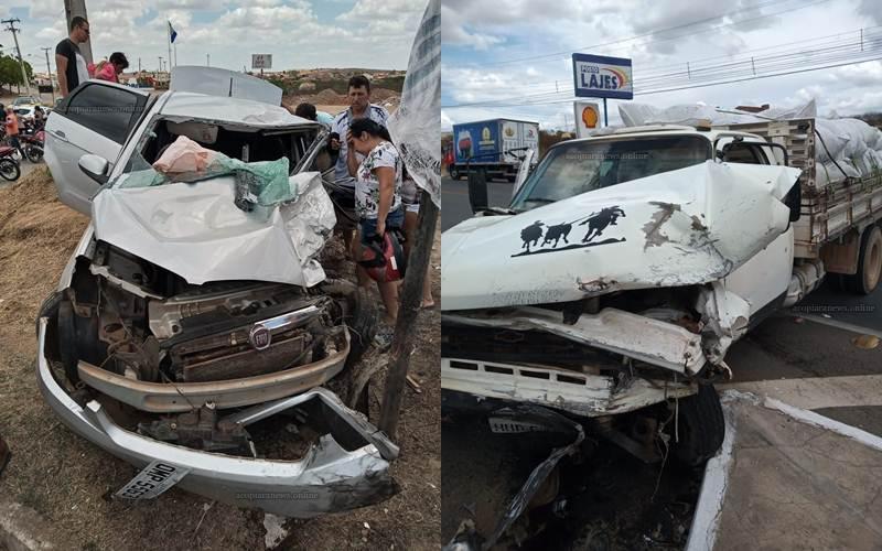 Grave acidente em Acopiara deixa condutor de veiculo ferido