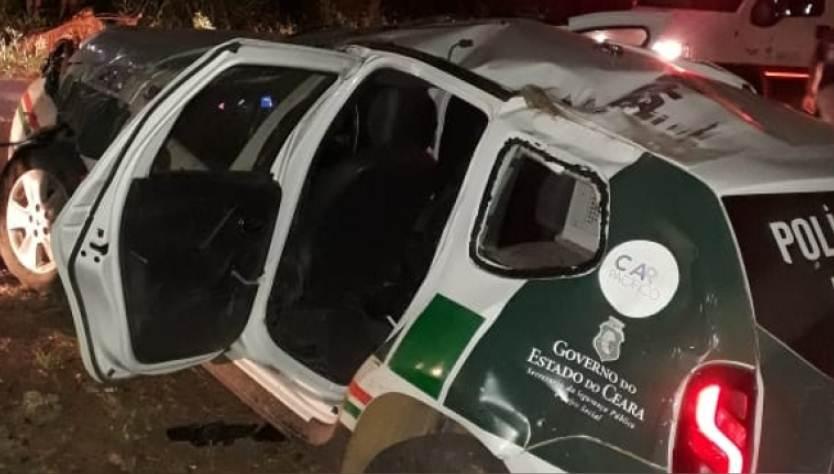 Viatura da Policia Ambiental capota em Brejo Santo, três policias ficam feridos